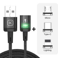 KUULAA 2M Mıknatıslı Usb Şarj Kablosu 3 Başlık(iPhone+Type-C+Micro