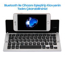 GK608 ULTRA SLİM KATLANABİLİR BLUETOOTH WİRELESS KLAVYE
