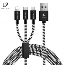 DUX DUCIS 3in1 Usb Type C-İPhone Ve Mikro Kopmaz Usb kablo Şarj