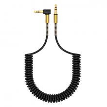 Spiral Eğik Başlı Araç Ses Aktarım Kablosu 3.5MM Aux Kablo 1.50mm