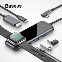 Baseus Multifunctional HUB (Type-C to 2 x USB3.0+HDMI+ PD+ iWatch Wireless Şarj