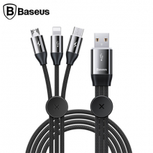 Baseus Car Co-sharing Manyetik Araç İçin 3in1 İPhone Type c Micro Usb Şarj Kablosu