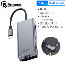Baseus Square Desk Type-C Multi-Functional Hub Usb 3.0*2 RJ45