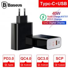 Baseus Speed PPS Touch Dijital Ekran QC 4.0 3.0 45W Hızlı Şarj Aleti