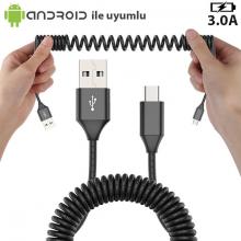Spiral Usb Type C 3.0A Hızlı Şarj Halat Usb Kablo 1.8mm