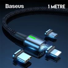 Baseus Zinc Magnetic Usb Şarj Kablosu 3 Başlık(iPhone+Type-C+Micro)1m