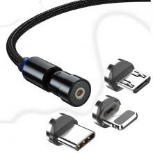 ALLY 540 Dönebilen Mıknatıslı Usb Şarj Kablosu 3 Başlık(iPhone+Type-C+Micro 2 metre