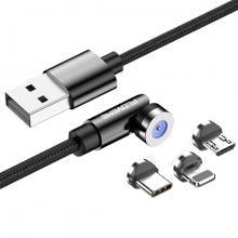 Floveme 540 Dönebilen Mıknatıslı Usb Şarj Kablosu 3 Başlık(iPhone+Type-C+Micro 1M