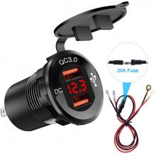 ALLY QC 3.0 Motosiklet Araba Dual USB Şarj Soket LED Voltmetre Paneli 60cm