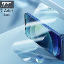 GOR İPhone 12-12 Pro 6.1 Best Full Tempered Cam Ekran Koruyucu 2Adet+Takma Aparatı
