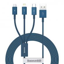 Baseus Superior Series (Micro+Lightning+Type-C) Üçlü Hızlı Şarj Veri Kablosu 3.5A 1.5M