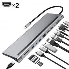 ALLY 12 İN1 USB 3.0 ype-C Notebook Hub (PD-Çift HDMI-VGA-RJ45-SD-USB*3) Adaptör Çoklayıcı