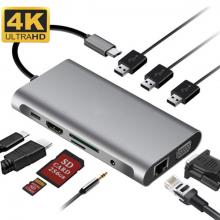 ALLY 10 İN 1 HDMI VGA RJ45 PD USB 3.0 HUB Adaptör Çoklayıcı