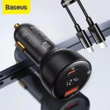 Baseus Superme Dijital Göstergeli 100W PPS USB + Type-C Girişli Hızlı Araç Şarjı ve 1m Type-C Kablo