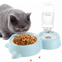 EZERE Kedi ve Köpekler için Otomatik 2 Bölmeli Mama ve Su Kabı