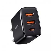 Baseus Compact 30W 2 USB + TYPE-C Çıkışlı Hızlı Şarj Başlığı