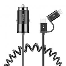 BASEUS TYPE-C İPHONE BAŞLIK SPİRAL USB KABLO 2İN1 ARAÇ ŞARJ BAŞLIĞI