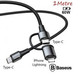 Baseus 2in1 USB Type C,Hızlı Şarj PD Kablosu+iPhone Başlık USB Kablo