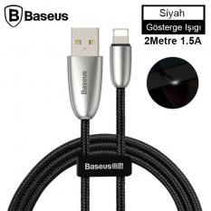 Baseus Torch Series Çinko Halat iPhone Led Işıklı Usb Şarj Kablosu 2 Metre 1.5A