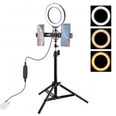 PULUZ 70CM Çift Telefon tutucu 6.2CM Led Işık Stand Youtuber,Canlı Yayın Selfie TikTok Makeup