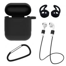 ALLY 4İN1 Apple Airpods İçin Kılıf+Kulaklık Askısı+Kulaklık Silikonu+Anahtarlık