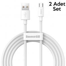 BASEUS Simple Wisdom Mikro USB 2.1A Şarj Kablosu 150cm 2 Adet Set
