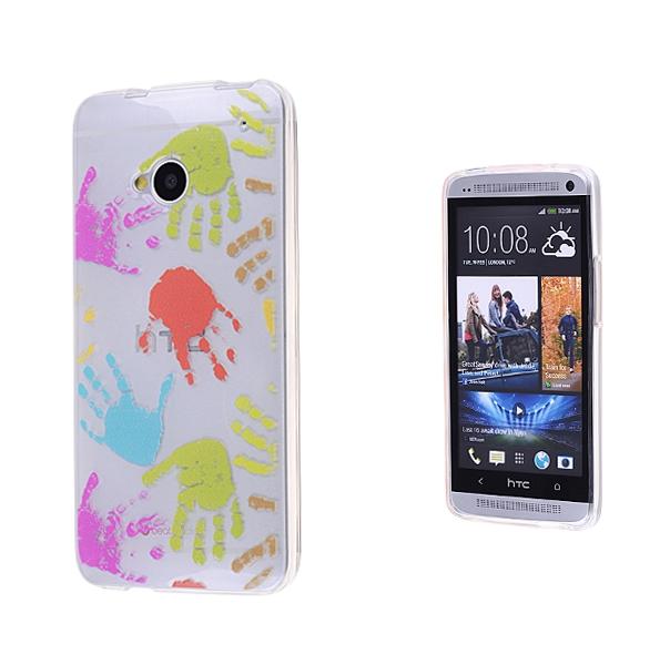 HTC ONE M7 SİLİKON EL DESENLİ ŞEFFAF KILIF